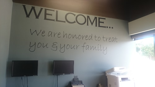 Chiropractic Lincoln NE Office welcome wall